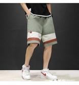 男士日系寬鬆拼接休閒短褲夏季加大碼潮流潮牌五分褲 米希美衣