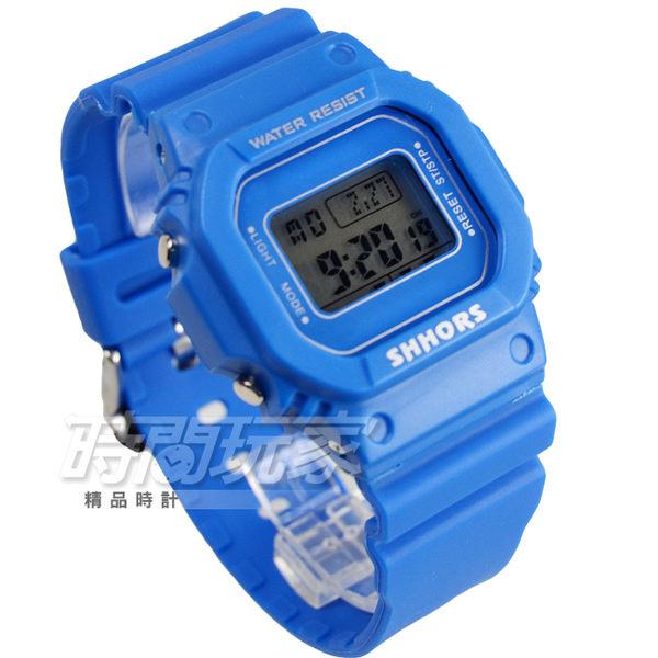 SHHORS 潮流時尚電子錶 雙顯示 運動錶 中性錶/女錶/男錶 防水手錶 橡膠錶帶 夜光 冷光照明 SH-718藍