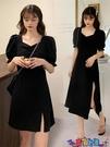 雪紡洋裝 設計感小眾氣質2021年新款春秋長裙雪紡法式復古黑色連身裙子女夏寶貝計畫 上新