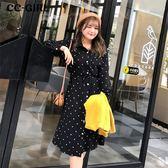 中大尺碼 襯衫領波點長袖洋裝(附繫帶)~共兩色 - 適XL~5L《 67283 》CC-GIRL
