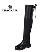 過膝長靴秋冬季加絨中筒靴瘦瘦秋款女鞋高筒平底長筒靴子 - 風尚3C