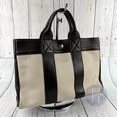 BRAND楓月 HERMES 愛馬仕 F刻 深咖帆布小托特包 深咖啡色皮革 米色帆布面 手提包