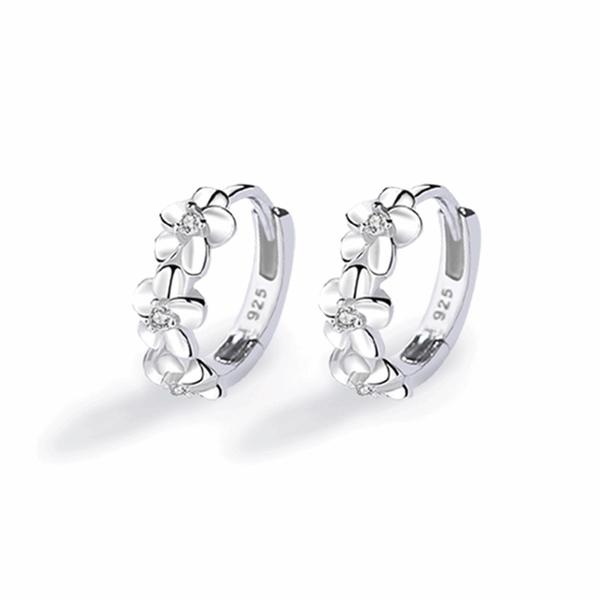 925純銀 三花單鑽五瓣花朵小花 天然白水晶 耳環耳圈扣-銀 防抗過敏