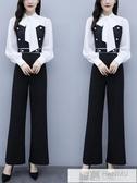歐洲站工裝連身褲女春秋氣質高腰顯瘦時尚拼色超仙闊腿連身褲套裝 韓慕精品