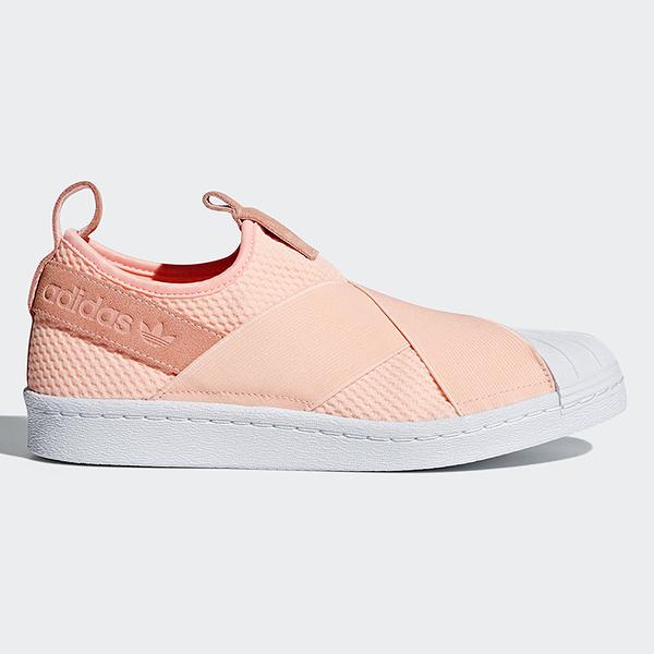 Adidas Superstar Slip On 女鞋 休閒 繃帶鞋 粉橘【運動世界】 AQ0919