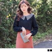 《AB9341》蕾絲拼接格紋襯衫領針織純色上衣 OrangeBear