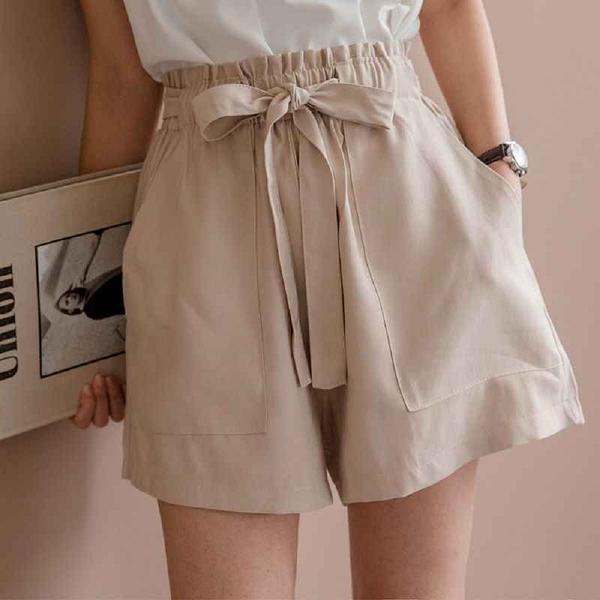 MIUSTAR 大腿顯瘦!花苞鬆緊腰大口袋軟質斜紋布短褲(共2色)【NJ1084】預購