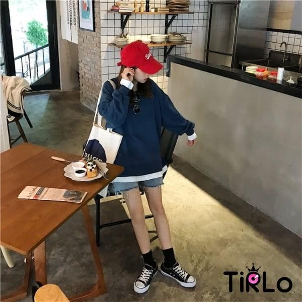 長T -Tirlo-包色推薦! 百搭假兩件衛衣-五色(現+追加預計5-7工作天出貨)