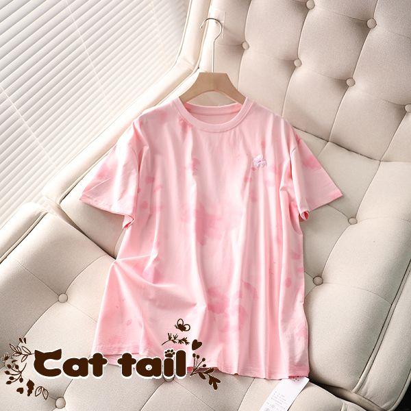 《貓尾巴》MA-0055 簡約暈染釘珠繡花短袖上衣(森林系 日系 棉麻 文青 清新)