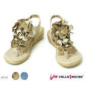 真皮花鞋飾  VelleMoven 真皮涼鞋 ★歐洲進口款★ 小低跟 鞋扣式 夾腳人字 涼鞋  氣質米