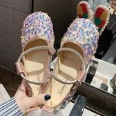 豆豆鞋 單鞋女甜美百搭夏季亮片淺口女鞋方頭奶奶軟底豆豆鞋潮-Ballet朵朵