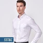 SST&C 男裝 鈕扣領白色紋理襯衫   0312010023