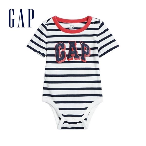 Gap 嬰兒 Logo棉質舒適短袖包屁衣 576918-光感亮白
