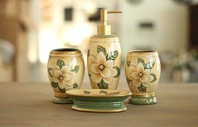 木蘭花彩繪陶瓷衛浴四件套裝【藍星居家】