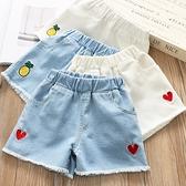 女童短褲 女童牛仔短褲夏裝2021新款兒童大童洋氣刺繡紅桃心褲外穿褲子韓版