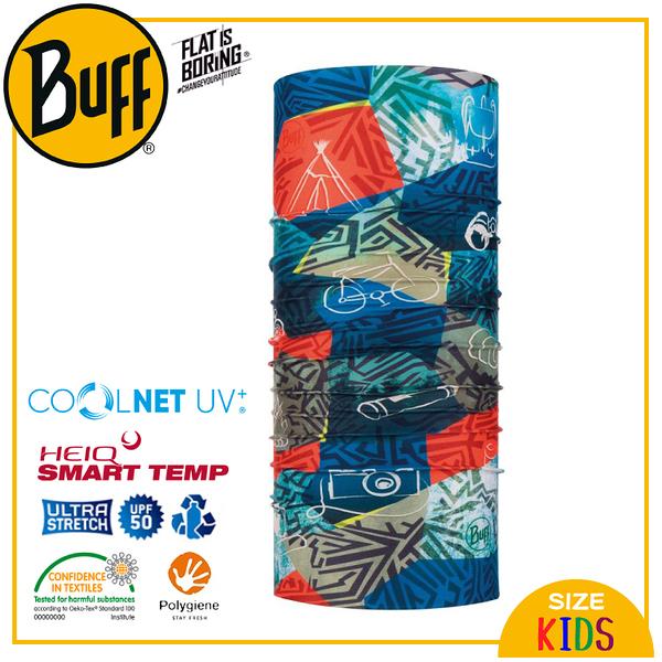 【BUFF 西班牙 兒童 Coolnet 抗UV頭巾 撞色紋石】120083/圍脖/帽子/口罩/圍巾/吸溼排汗