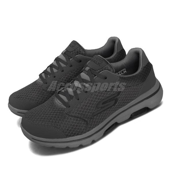 Skechers 休閒鞋 Go Walk 5 - Qualify 灰 男鞋 健走鞋 運動鞋 【ACS】 55509CCBK