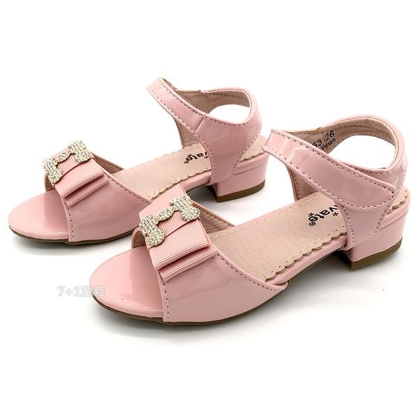 《7+1童鞋》專櫃款 普萊米 PRIVATE 華麗殿堂 精緻鑲鑽 微跟公主涼鞋 E155 粉色