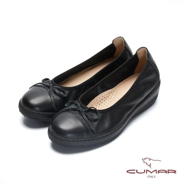 【CUMAR】文藝羅浮宮- 經典簡約素雅小蝴蝶結厚底娃娃鞋(黑色)