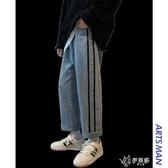 秋冬季港風潮牌牛仔褲男士韓版寬鬆潮流百搭直筒褲潮 伊芙莎