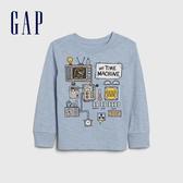 Gap男幼童 創意風格印花圓領長袖T恤 617814-淡藍色