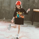 女童短袖上衣 女童夏裝短袖T恤中大童正韓半袖上衣女孩洋氣寬鬆t恤裙潮-Ballet朵朵