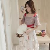 夏季2020新款碎花吊帶仙女裙子正韓復古一字領雪紡收腰顯瘦洋裝