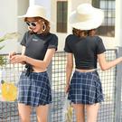 2019新款分體泳衣女士兩件套裙式平角學生小胸聚攏保守溫泉遊泳裝