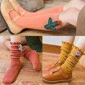春秋款女童兒童堆堆襪子寶寶中長筒襪韓國版可愛女孩卡通公主【快速出貨八折優惠】
