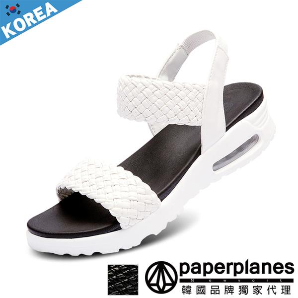 正韓製 版型正常 溫柔歐膩 編織拼接  舒壓氣墊 厚底涼拖鞋【B7900261】2色 韓國紙飛機-SD韓美鞋