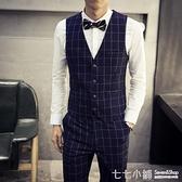 馬甲男西服韓版潮流薄款小休閒正裝工裝春秋格子男士西裝外套