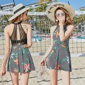 連身泳裝 連身泳衣裙式平角遮肚韓國修身沙灘度假泳裝女廠家- 炫科技