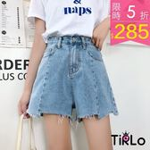 牛仔短褲 -Tirlo-水洗藍接片設計牛仔短褲-S-XL(現+追加預計5-7工作天出貨)