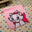 【發現。好貨】迪士尼 嫵媚貓 瑪莉貓毛絨束口袋  移動電源包 收納袋 衛生棉包 化妝包 相機包