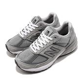 New Balance 慢跑鞋 990v5 NB 灰 白 元祖灰 麂皮鞋面 美國製 運動鞋 女鞋【ACS】 W990GL5-D