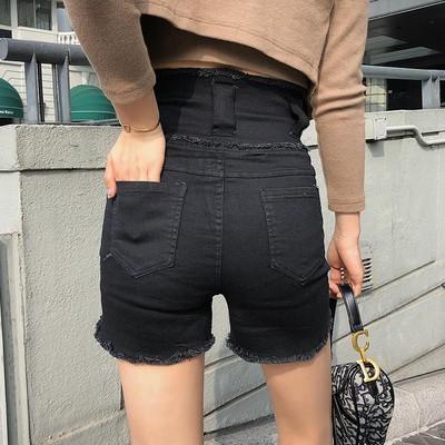 牛仔短褲~黑色超高腰牛仔短褲女潮百搭顯瘦拉鏈熱褲外穿毛邊網M033-A 胖妹大碼女裝