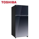 [TOSHIBA 東芝]608公升 雙門變頻鏡面電冰箱-玻璃藍 GR-AG66T-GG