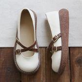 森女文藝復古皮帶扣增高圓頭厚底大頭鞋手工舒適百搭娃娃鞋女涼鞋 QQ3186『MG大尺碼』