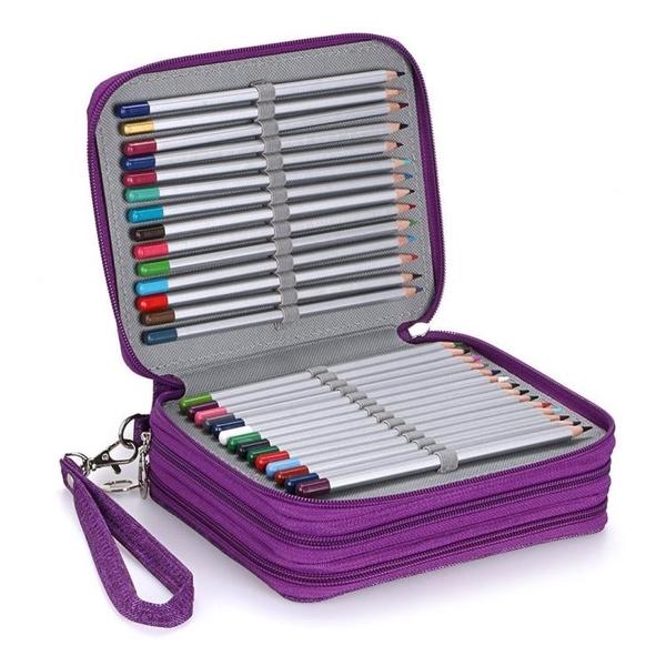 2020新款大容量72色收納筆袋筆簾美術彩鉛筆簾學生文具盒 黛尼時尚精品
