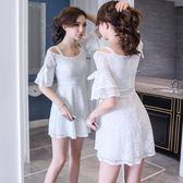 洋裝 一字領露肩蕾絲白色 派對夜店 韓版 婚禮小禮服 連身裙 花漾小姐【現貨】