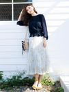 早春上市[H2O]超顯瘦數位印花白褶長裙...