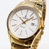 【萬年鐘錶】SIGMA 日系 簡單 男錶  女錶  白錶面 金殼 金錶帶帶  9814M-G2