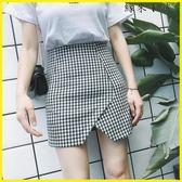 A字裙  不規則黑白格子短款半身裙