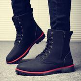 夏季馬丁靴軍靴潮流韓版男士皮靴英倫中筒工裝短靴紅鞋高筒男靴子 〖米娜小鋪〗