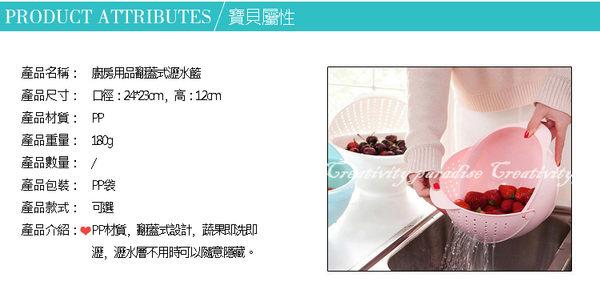 【翻蓋式瀝水籃】廚房水果籃 洗菜籃 旋轉置物籃 濾水籃