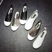 懶人鞋樂福鞋 小白鞋一腳蹬帆布鞋板鞋懶人套腳鞋低幫休閒鞋 巴黎春天