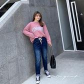 中大尺碼  微刷破漸層綁帶牛仔褲 - 適2L~4L《 20072 》CC-GIRL