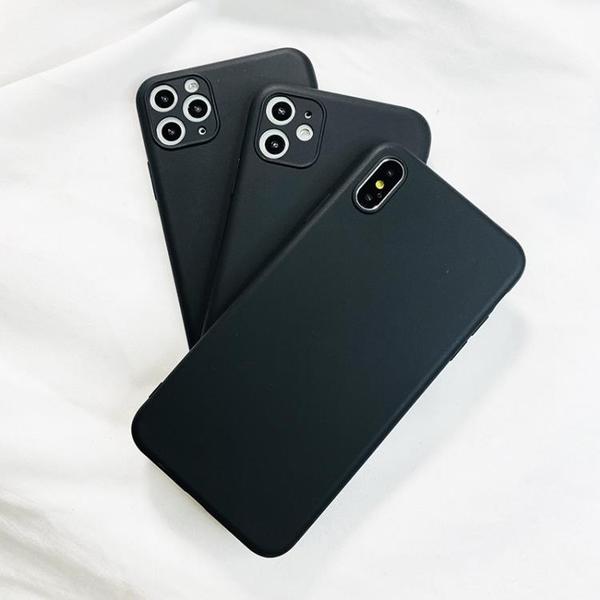 蘋果X手機殼iphone11 pro max硅膠xr黑色8plus純色軟套7p男6s