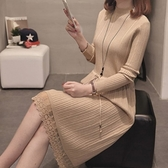 漂亮小媽咪 韓系 坑條 蕾絲 針織洋裝 【D5099】 純色 長裙 長洋裝 毛衣 針織 孕婦裝
