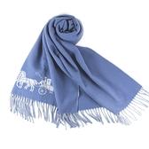美國正品 COACH 馬車LOGO寬版羊毛流蘇圍巾-灰藍【現貨】